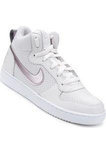 Tênis Couro Nike Court Borough Mid - Masculino-Branco+Rosa