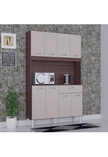 Cozinha Compacta 8 Portas 1 Gaveta Kit Cássia 6171 Capuccino/Off White - Poquema