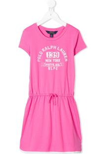 Ralph Lauren Kids Vestido Com Estampa De Logo E Ajuste No Cós - Rosa