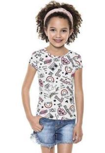 Blusa Infantil Fakini Kids Verão Unicórnio Neon Feminina - Feminino