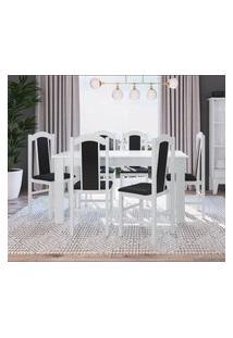 Conjunto Mesa Com 6 Cadeiras Branco E Preto Lilies Móveis