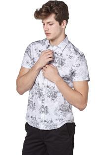 Camisa Manga Curta Convicto Estampa Floral Branca