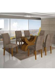 Conjunto De Mesa Com 6 Cadeiras Olímpia I Suede Amassado Imbuia Mel E Capuccino