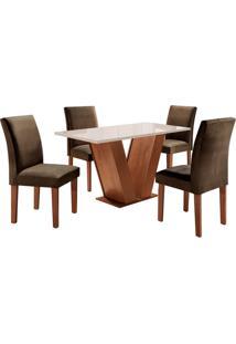 Conjunto De Mesa De Jantar Com 4 Cadeiras Classic Ll Suede Off White E Marrom