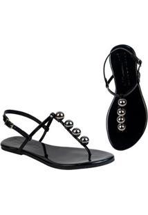 Rasteira Flat Bolinhas Mercedita Shoes Confortável Dia A Dia Casual - Feminino-Preto+Chumbo