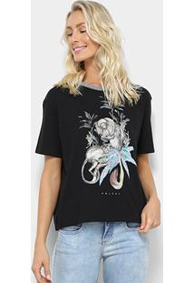 Camiseta Colcci Estampada Macaco Feminina - Feminino-Preto