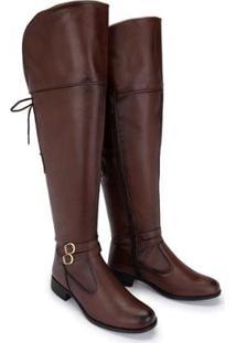Bota Over The Knee Com Cadarço 11503 Schiareli Feminina - Feminino-Marrom Claro