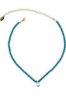 Colar Choker Mini Cristais Blue Denim Com Gota Cristal Azul By La Madame Co