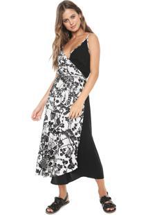 Vestido Redley Midi Floral Preto/Banco
