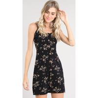 222fbeecd611 CEA. Vestido Feminino Curto Estampado Floral Com Botões Alça Fina Preto
