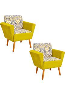 Kit 02 Poltrona D'Rossi Decorativa Dora Estampado D77 Com Suede Amarelo