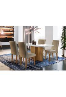 Mesa Berlim 120 Tp Mdf Vidro/Canto Reto C/ 4 Cadeiras Grécia Rufato