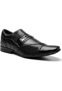 Sapato Social Frampasso Textura Fivela Masculino - Masculino-Preto