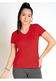 Blusa Feminina Vermelha Baby Look Com Decote V