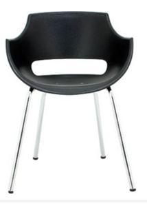 Cadeira Frida Base Fixa Cromada Cor Preto - 30361 - Sun House