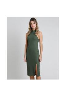 Vestido Feminino Midi Halter Neck Canelado Com Fenda Gola Alta Verde Militar