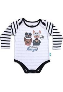 Body Bebê Jokenpô Melhores Amigos Masculino - Masculino-Branco+Preto