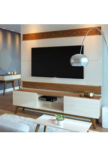 Rack Com Painel Para Tv Até 60 Polegadas Classic Off White Com Freijó Touch 180 Cm