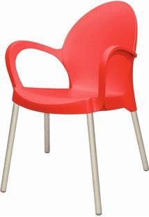 Cadeira Grace Base Aluminio Anodizado Cor Vermelho - 20047 - Sun House