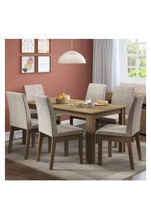 Conjunto Sala De Jantar Madesa Cibele Mesa Tampo De Madeira Com 6 Cadeiras Rustic/Fendi
