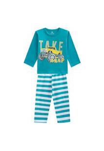 Pijama Em Malha Listrado Brandili Azul