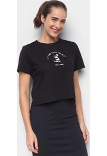 Camiseta Colcci Cropped Disney Mickey Feminina - Feminino-Preto