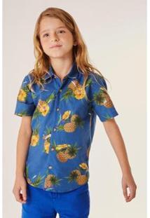 Camisa Infantil Tropical Reserva Mini Masculina - Masculino-Azul