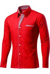 Camisa Masculina Slim Com Listras Manga Longa - Vermelho M