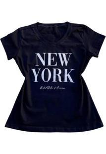 Camiseta New York Feminina - Feminino-Preto