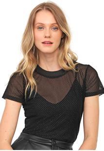 Camiseta Colcci Tule Glitter Preta - Preto - Feminino - Poliamida - Dafiti