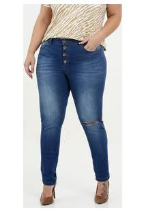 9dc303f4cd27 Calça Feminina Jeans Cigarrete Destroyed Plus Size Razon
