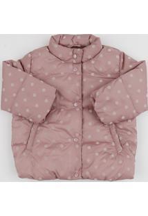 Jaqueta Puffer Infantil Estampada De Poá Gola Alta Rosa Escuro