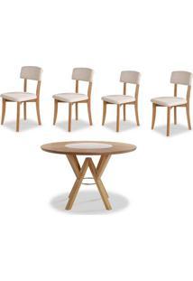 Conjunto Petani Mesa Tampo Giratorio Vidro Branco + 4 Cadeiras Estofado Branco 120Cm - 59618 - Sun House