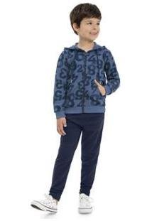 Jaqueta Infantil Quimby Moletom Masculino - Masculino-Azul