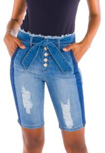Bermuda Ciclista Jeans Com Reserva Jeans Azul