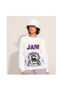Camiseta De Algodão Space Jam Manga Longa Decote Redondo Off White