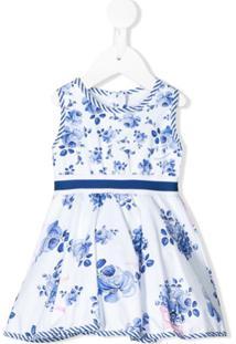 Monnalisa Vestido Evasê Com Estampa Floral - Branco