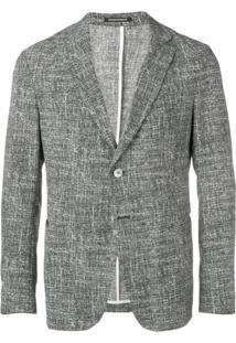 Emporio Armani Single Breasted Tweed Coat - Cinza