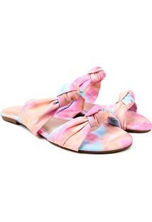 Rasteira Look Fashion Nó Tie Dye Feminina - Feminino-Azul+Rosa
