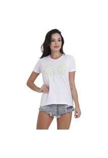 Camiseta Jay Jay Basica Folhagem Branca Dtg