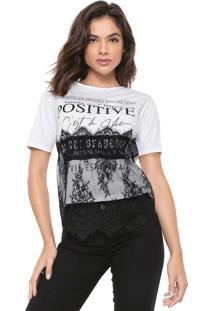 Camiseta Dimy Renda Branca/Preta