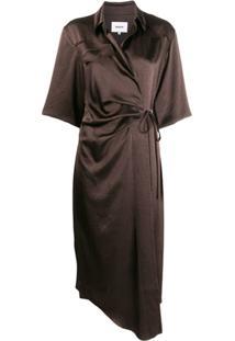 Nanushka Vestido Envelope Lais - Marrom