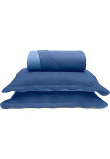 Conjunto De Colcha Metrópole Casal- Azul- 3Pçs- Buettner