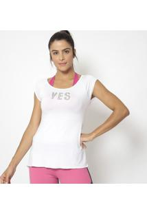 "Blusa ""Yes""- Branca- Physical Fitnessphysical Fitness"