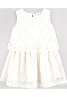 Vestido Infantil Em Renda Com Sobreposição Sem Manga Off White