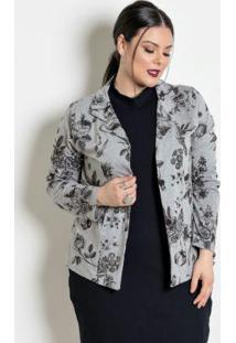 Blazer Plus Size Mescla/Floral