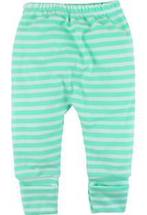 Calça De Bebê Com Pé Reversível Era Uma Vez Listras Verde Claro