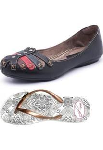 713ab5c0df Kit Sapatilha+Chinelo Top Franca Shoes - Feminino-Preto