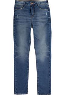 Calça Jeans Skinny Masculino Hering Com Desgastes Na Cor