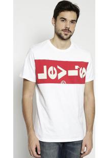 Camiseta Com Recortes & Inscriã§Ã£O - Branca & Vermelhalevis